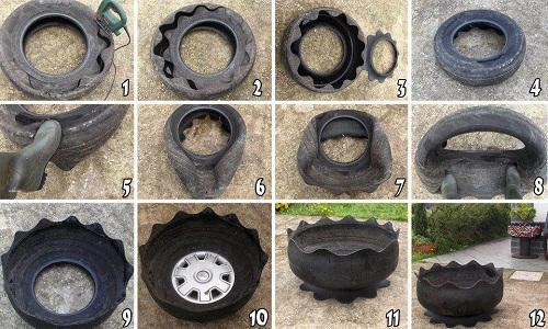 Схема вазона из автомобильных шин.