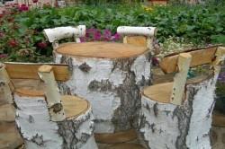 Мебель для дачи из березовых поленьев