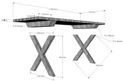 Схема стола с крестообразными ножками