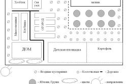 Схема размещения сада и огорода на дачном участке
