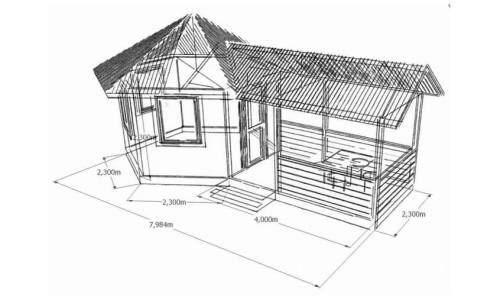 Схема летней кухни с размерами