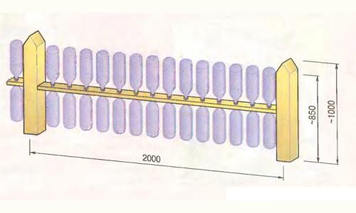 Схема оградки из пластиковых бутылок
