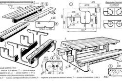 Схема сборки стола для беседки