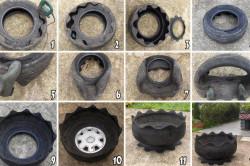 Этапы создания вазона из автомобильных шин