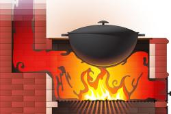 Вариант дымоотведения печи для казана из кирпича