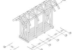 Схема размеров навеса для дров