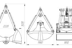 Размеры двухканатного грейфера