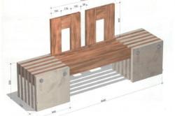 Скамейка из бруса и бетонных плит