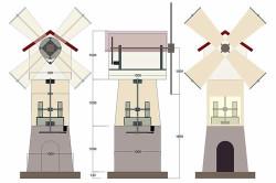 Схема устройства каркаса декоративной мельницы