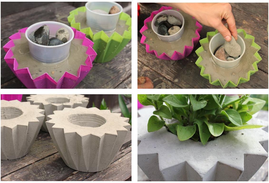 Сделать вазон из бетона своими руками