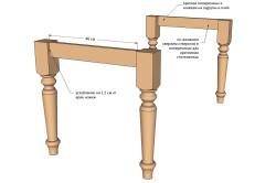 Схема крепления ножек деревянного стола