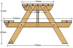 Схема стола со скамьями в комплекте