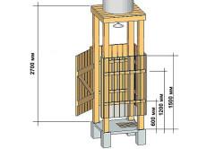 Схема изготовления кабины душа из деревянного бруса