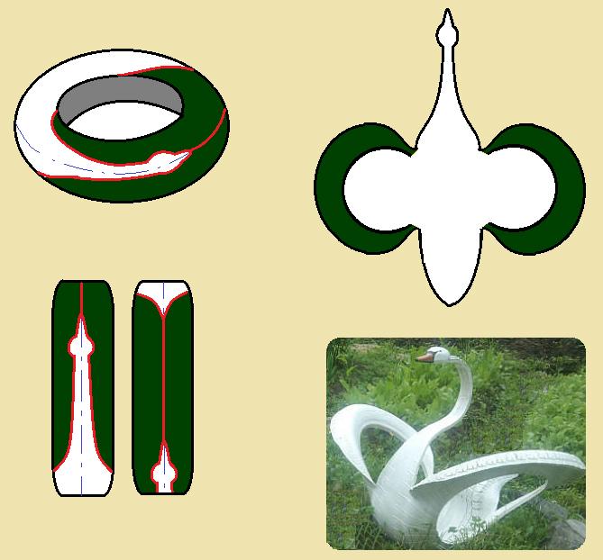 Схема лебедя из шины 18