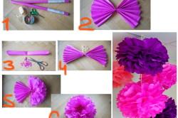 Этапы изготовления помпонов из бумаги