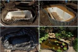 Этапы создания пруда из ванны