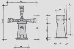 Простой чертеж декоративной мельницы
