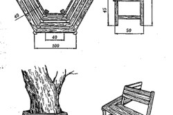 Схема круговой скамейки вокруг дерева
